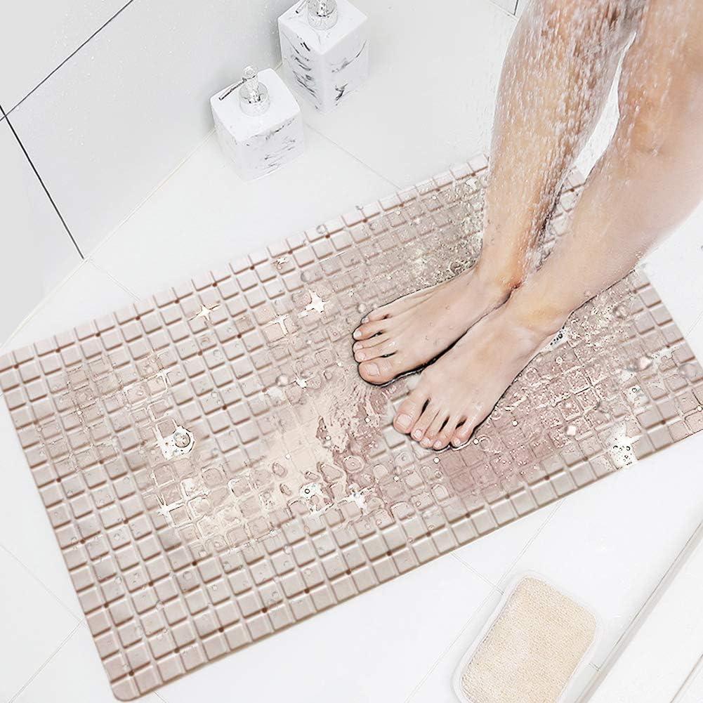 XIYUNTE Bath Mats Non-slip Bathtub Mats Mildew Resistant Shower Mats with Suction Cup for Bathroom grey 70 x 40cm Childrens Bath Mats Machine Washable