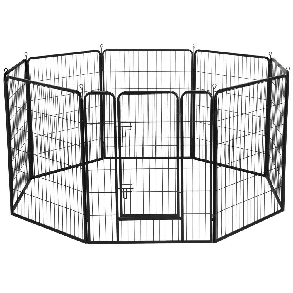 Topeakmart Heavy Duty Pet Dog Pen Fence - Foldable Metal Portable Puppy Exercise Pen Barrier Kennel Indoor Outdoor 8 Panels 40-inch H Black by Topeakmart