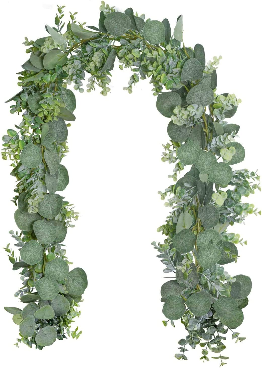 HI NINGER Eucalyptus Garland 6.5' Long Artificial Eucalyptus Leaves Vines, Faux Silk Eucalyptus Garland for Wedding Arch Swag Backdrop Greenery Wall Decor