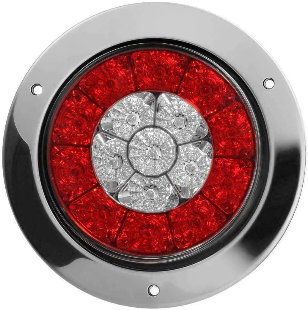 4x4LED /Ámbar Rojo Luces Traseras Redondas Indicador de Luz de Se/ñal de Freno se Adapta a un Cami/ón de Autom/óvil Riloer Luz LED Redonda de Luz de Freno
