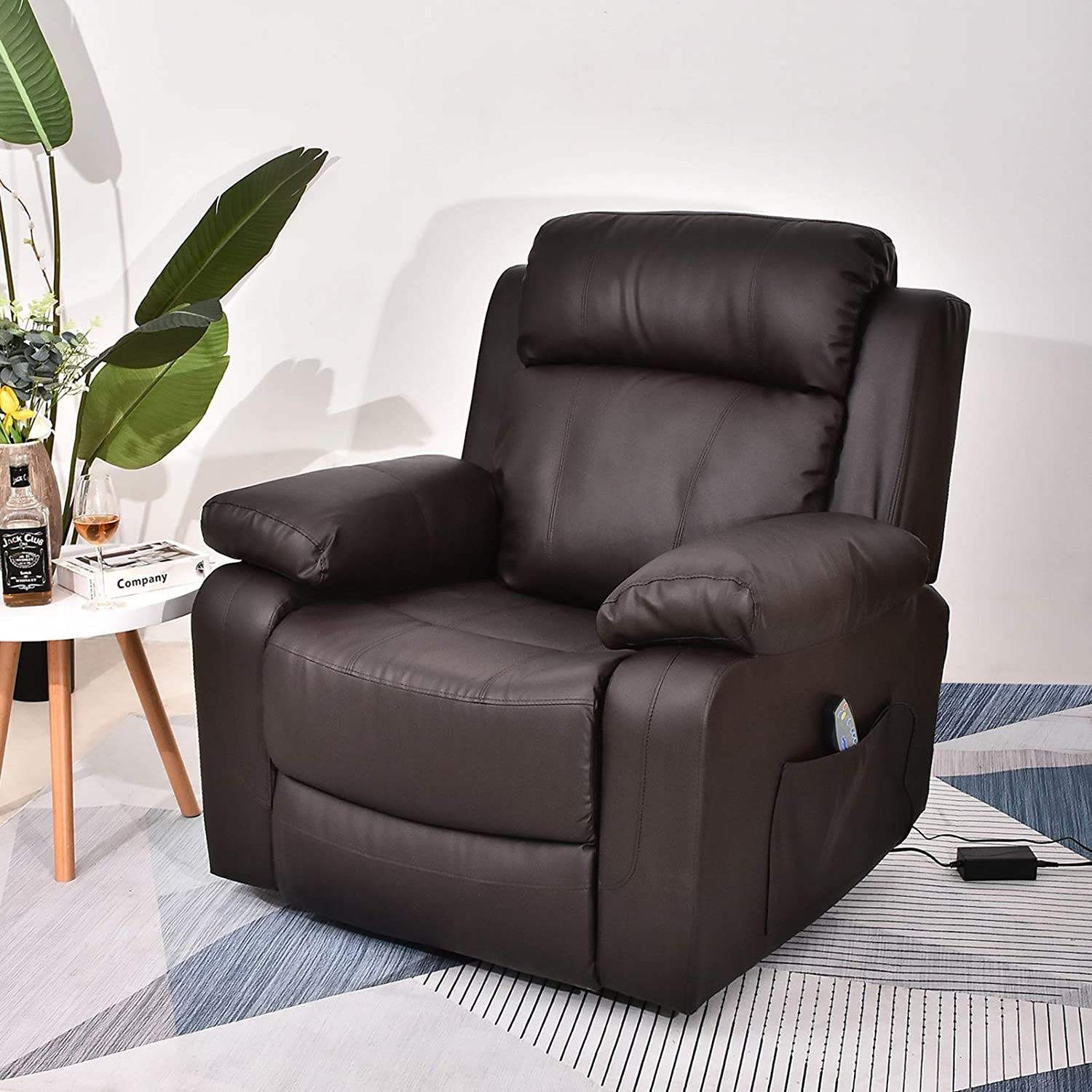 Recliner Chair Sleeper Reading Chairs for Bedroom PU Leather Recliner  Chairs for Living Room Theater Seating Power Recliner with Heat and Massage