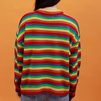 80s  90s Grey and Rainbow Knit Stripe Pullover Sweater  Princess Sleeve  Arielle  Space Dyed  Medium  Gradient  Boat Neck  M