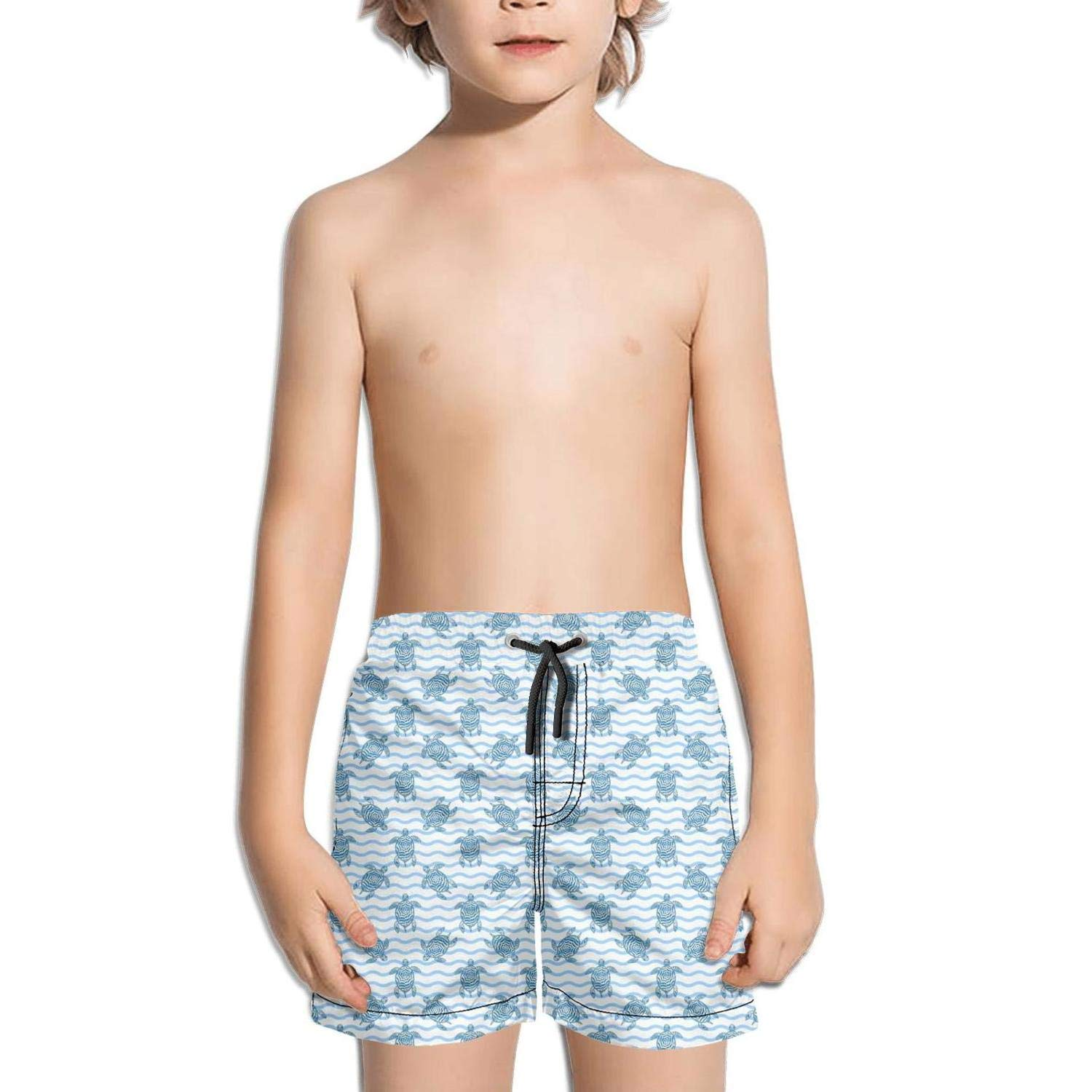 NAIT.2 Shorts Swimming Tucks for Kid Quick Dry Beach Sporty Swimming Tucks Effect Swimming Suits Hawaiian Turtle in Sea