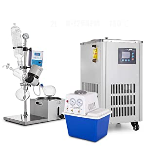 VEVOR 2L Rotary Evaporator 0-120rpm,Rotary Evaporator kit with Vacuum Pump and Chiller,with Manual Lift 0-200 Celsius 0.098mpa,for The Chemical Industry