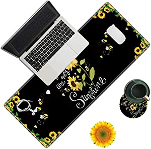 Desk Pad, Sunflower Laptop Desk Mat,Long Large Gaming Mouse Pad with Stitched Edges Non-Slip Writing Mat Desk Blotter Protector for Office Home (with Coaster & sunflowe Sticker)