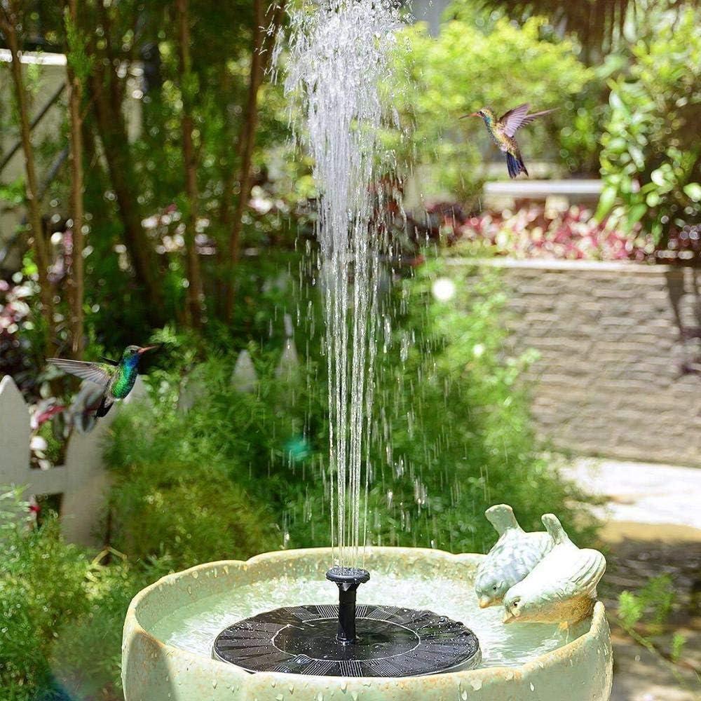 1.4W Solar Landscape Fountain with 6 Different Spray Nozzles for Garden Decoration Rockery Fountain 6-in-1 Nozzle Solar Fountain Bird Bathtub