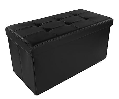 Dualplex Foldable Storage Ottoman Bench, Comfortable Seat 30u201d X 15u201d X 15u201d