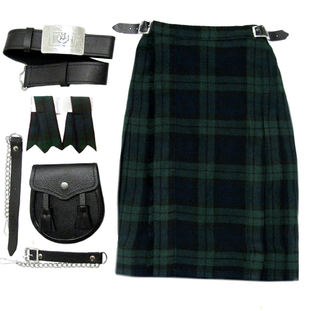 Black Watch Boys Kilt Kit/Outfit With Kilt, Sporran Belt & Flashes Age 9-10