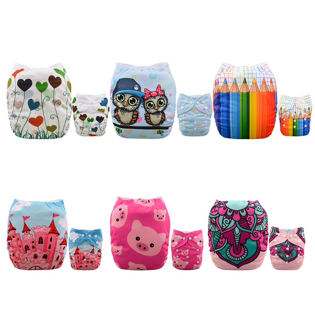 ALVABABY Baby Cloth Diapers 6 Pack with 12 Inserts Adjustable Washable and Reusable Pocket Diapers for Baby Girls 6BM88 -9561