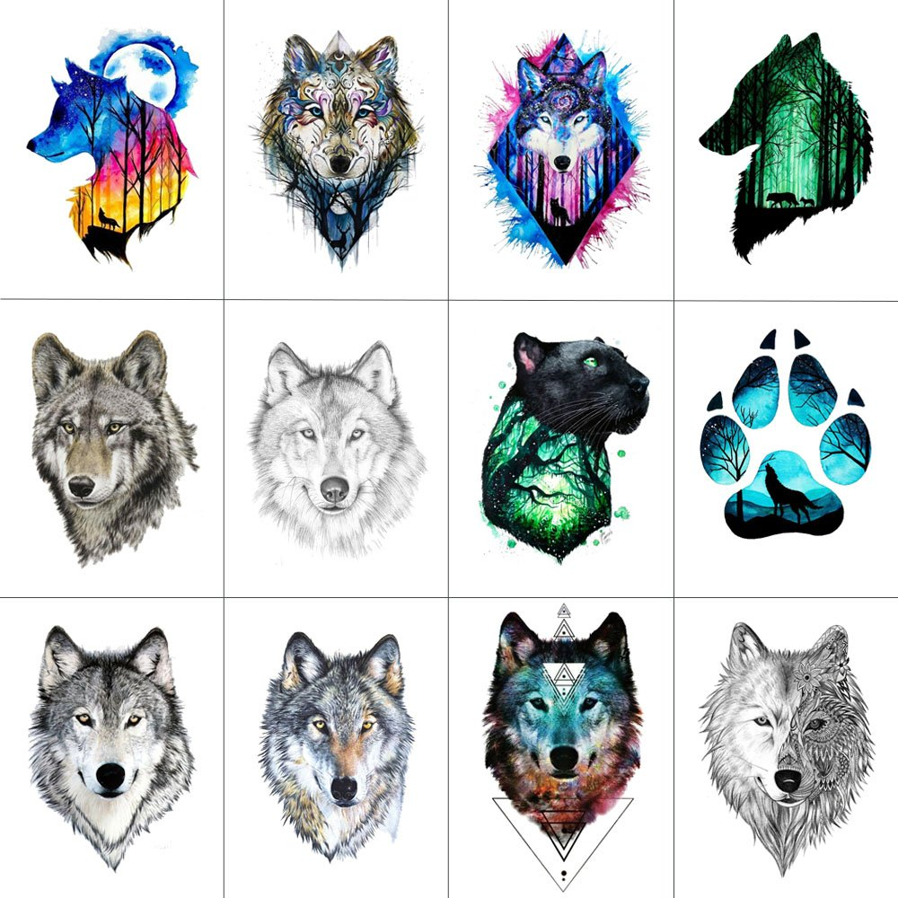 Wyuen 12 PCS/lot Wolf Temporary Tattoo Sticker for Women Men Fashion Body Art Adults Waterproof Hand Fake Tatoo 9.8X6cm FW12-01 (Wolf1)