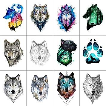 Amazon.com : WYUEN 12 PCS/lot Wolf Temporary Tattoo Sticker for ...