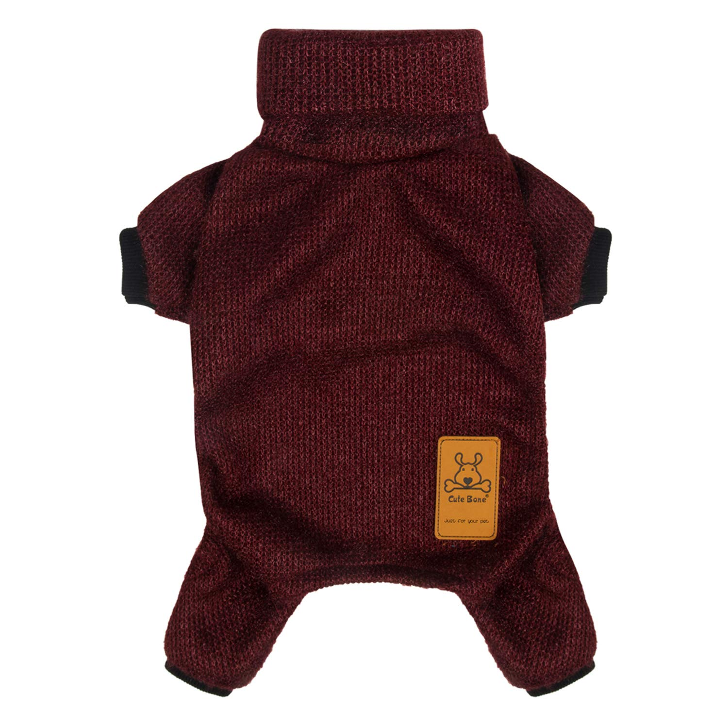 Red L Red L CuteBone Dog Sweater Turtleneck Knitted Coat for Pet Clothes, Jumpsuit DS04L