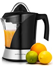Andrew James Fruit Juicer Electric Citrus Juicing Machine for Soft Fruits Like Oranges Lemons and Limes | Large 1 Litre Capacity Jug & 2 Juicing Cones | Easy Clean Filter | 40w | Black
