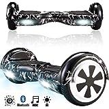 Magic Vida Skateboard Électrique Bluetooth 6.5 Pouces Noir de Foudre Deux LEDs,Gyropode Musique Auto-Équilibrage Enfants Adultes,Sac de Transport, Télécommande offerts