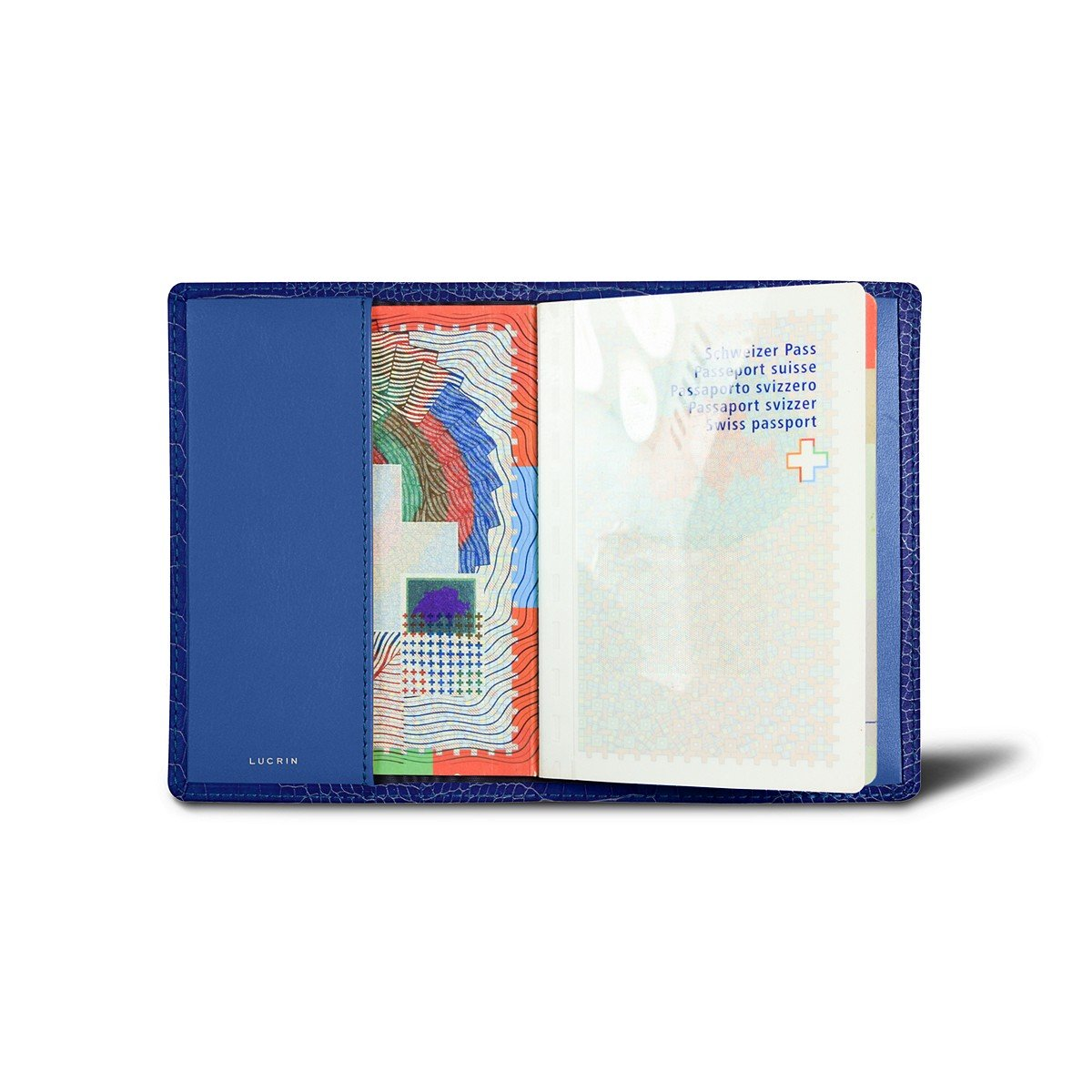 Lucrin - Genuine Leather USA Passport Cover - Royal Blue - Crocodile style calfskin
