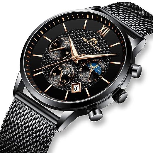 Relojes Hombre Negros Relojes Cronógrafo Militar Cuarzo de Acero Inoxidable de Lujo a Prueba de Agua Relojes de Pulsera para Hombres Clásico Diseñador Fecha ...