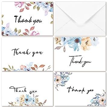 Amazon.com: Watercolor Floral Tarjetas de agradecimiento 40 ...