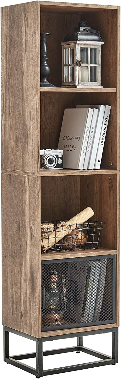 Linsy Home Wood Bookcase, 4-Tier Bookshelf with Metal Frame Support for Home Office Hotel Show Room.