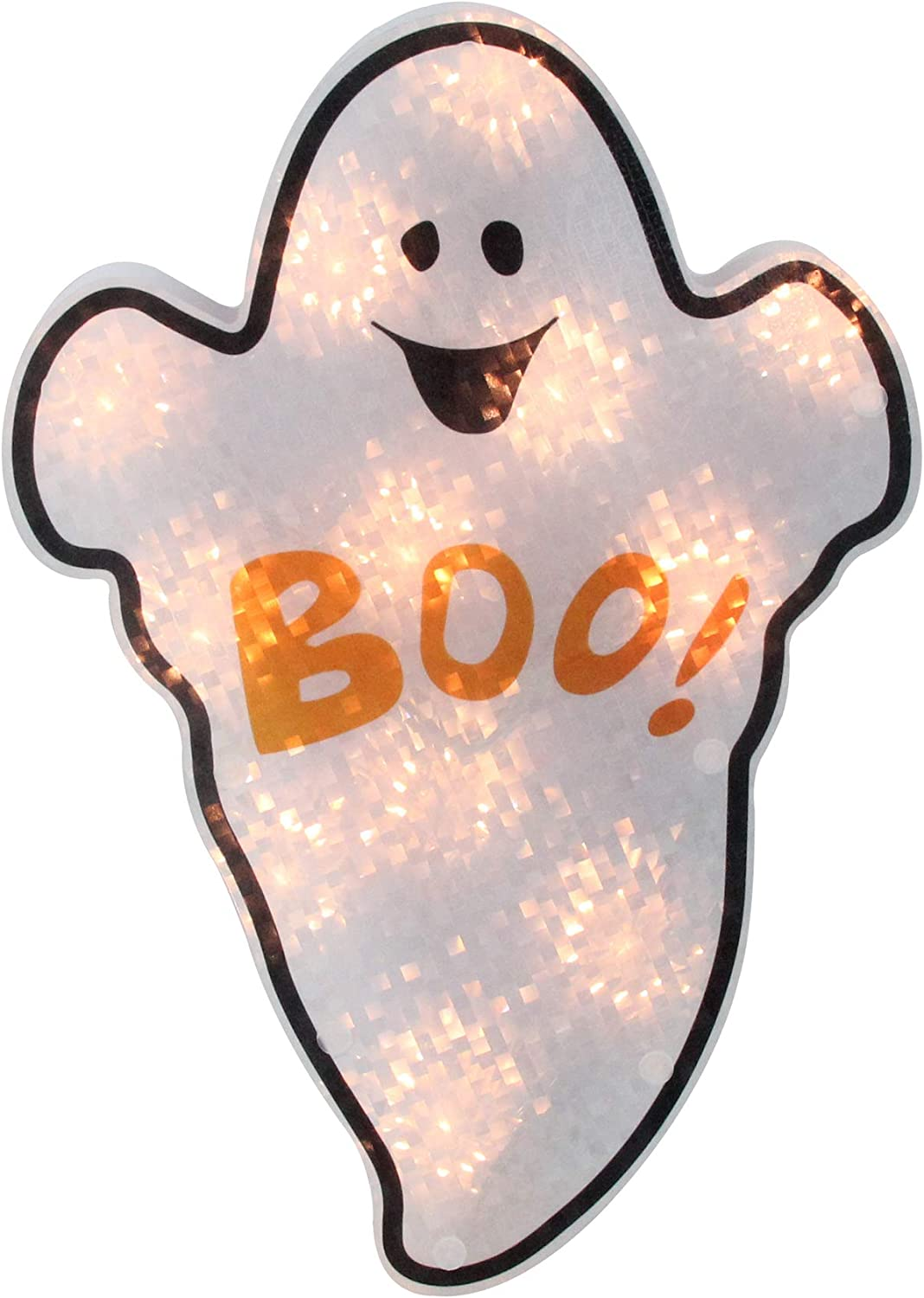 """Northlight 12"""" Lighted White Holographic Ghost Halloween Window Silhouette Decor"""