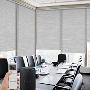 Graywind Motorized Roller Shades 60% Blackout Light Filtering Window Shades Cordless Solar Blinds Freestop Roller Blinds with Valance for Smart Home and Office, Customized Size, Jacquard Grey