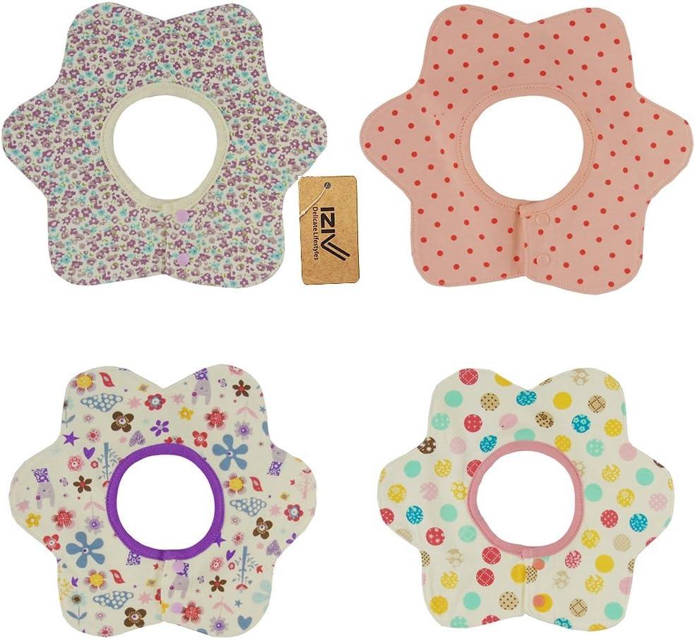 iZiv Color-1 Paquete de 4 Dise/ños con 4 Capas Impermeables para ni/ño 0-3 a/ños TM Baberos del Beb/é