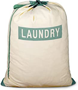 Smart Design Large Laundry Bag w/Handle & Push Lock Drawstring - 100% Cotton Canvas Material - for Clothes & Laundry - Home Organization (Holds 3 Loads) (29 x 36 Inch) [Laundry Logo]