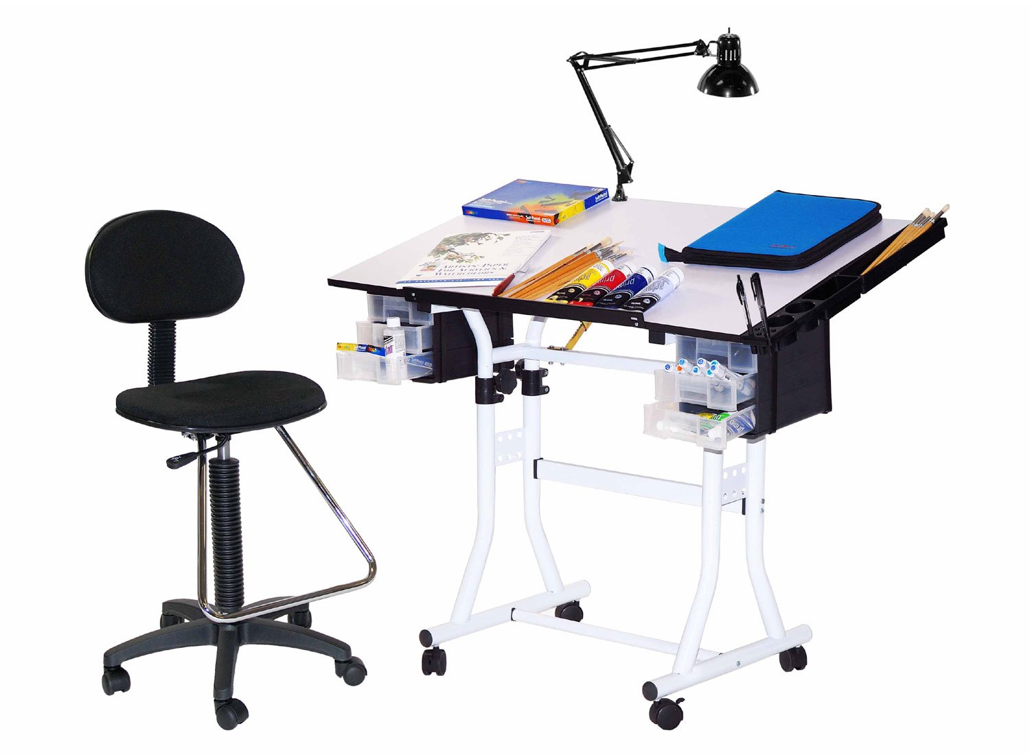 4 Pc Creation Station Drafting Table w Drafting High Chair Set (White)