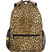 Vdsrup Vintage Leopard Print Backpack for Girls Kids Boys Chic Animal Print School Book Bag Waterproof Student Laptop Backpacks College Carrying Bags Casual Durable Lightweight