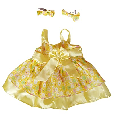 """Summer Dress Outfit Teddy Bear Clothes Outfit Fits Most 14"""" - 18"""" Build-a-bear and Make Your Own Stuffed Animals : Toys & Games"""