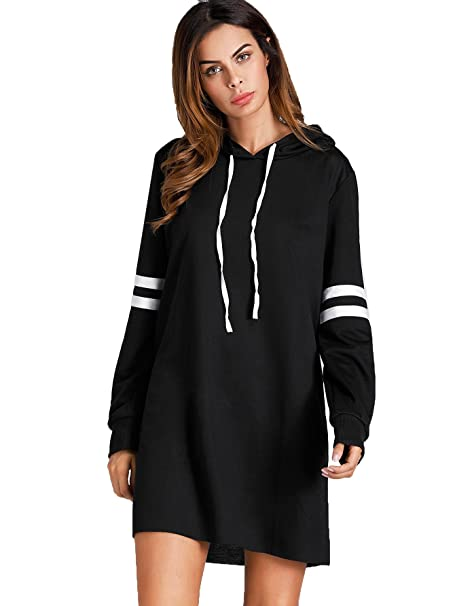 bbca1aeac4b7 SweatyRocks Women's Striped Long Sleeve Casual Pullover Hoodie Sweatshirt  Dress Black S