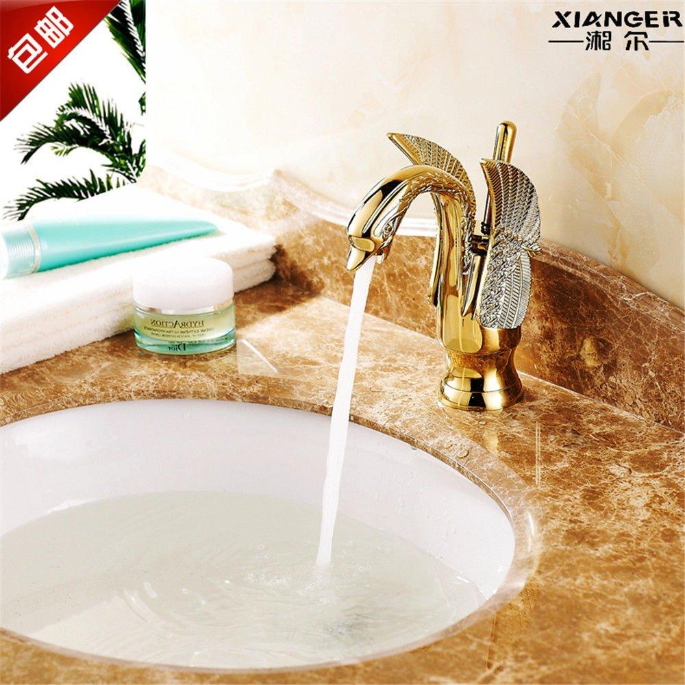 AQiMM Waschtischarmatur Wasserhahn Waschbecken Gold-Kupfer Kaltes Wasser Einzelne Bohrung Nicht-Erkältung Badezimmer Mischbatterie