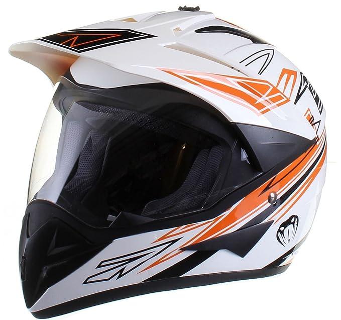 Amazon.es: Casco protector con doble visera MX - Para motocross / todoterreno / enduro / MX / cicloturismo - Naranja - M (57-58 cm)