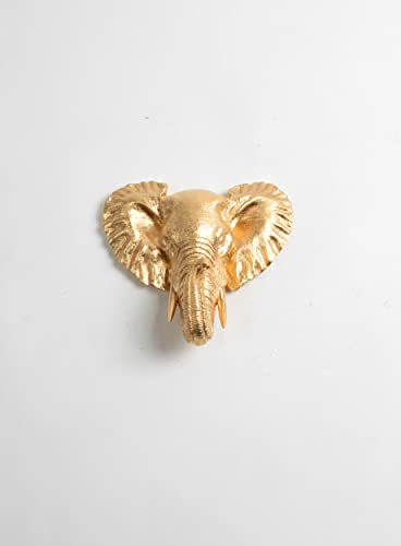The Phineas – Miniature Metallic Gold Faux Elephant African Safari Head Wall Decor