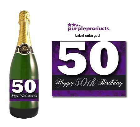 Morado Happy 50th cumpleaños con botella de champán diseño ...