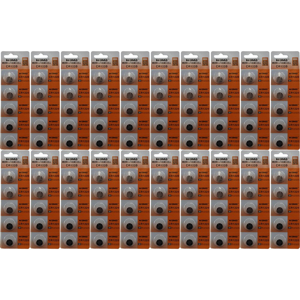 100 Powertron 3v Battery CR1220 CR-1220 Lithium Batteries DL1220