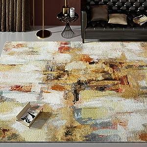 Premium Modern Area Rug,Luxury Velvet Soft Modern Abstract Low Pile Rugs,Fluffy Floor Carpet for Living Dining Room Bedroom Golden 6'5x9'8ft(200x300cm)