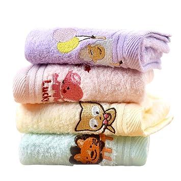 WLG 4 Toallas de Felpa para bebé, Toallas de algodón Lavables Suaves, Toallas de niños Clase A, Rectángulos rectangulares rectangulares,UN,24x50cm: ...
