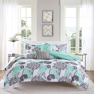 D&H 5 Piece Girls Mint Grey Floral Theme Comforter Full Queen Set, Pretty All Over Abstract Wild Flower Bedding, Beautiful Girly Multi Flowers Pattern Reversible Solid Themed, Dark Gray Seafoam Green: Home & Kitchen