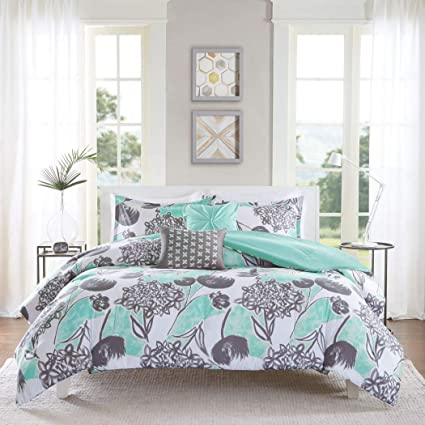 5 Piece Girls Mint Grey Floral Theme Comforter Full Queen Set, Pretty All  Over Abstract Wild Flower Bedding, Beautiful Girly Multi Flowers Pattern ...