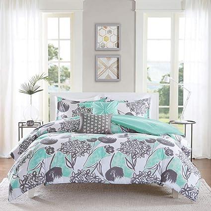 267601ba8 Amazon.com  4 Piece Girls Mint Grey Floral Theme Comforter Twin XL ...