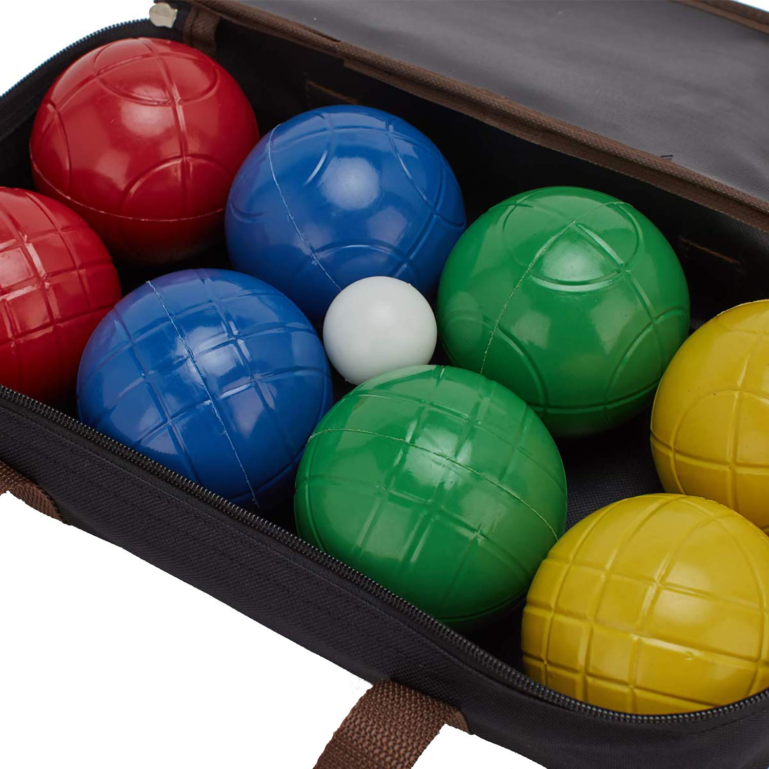 LAWN TIME 90mm Bocce Ball Set | Includes 8 Recreational Plastic Balls, 1 Pallino (Jack Ball) and 1 Nylon Zip-Up Carrying Case | Beach, Backyard or Outdoor Party Game - Family Fun for All Ages by LAWN TIME (Image #5)