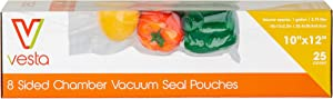 8-sided Chamber Vacuum Sealer Bags by Vesta Precision | Side and Bottom Gusseted Vacuum Seal Pouches | Ideal for Liquids | 10 x 12 x 2.17 inches | 25 Vacuum Bags per Box | FOR CHAMBER SEALERS ONLY