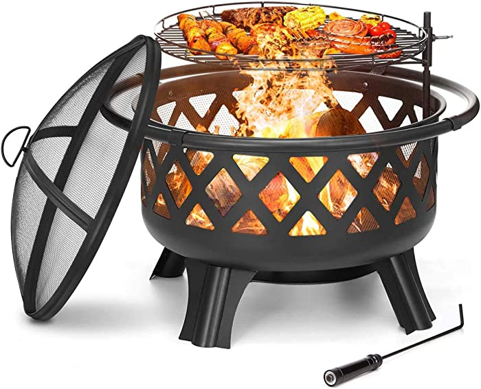 """KINGSO 2-in-1 Outdoor Fire Pit with Cooking Grate 30"""" Heavy Duty Fire Pits Outdoor Wood Burning Steel BBQ Grill Firepit Bowl with Spark Screen Cover Log Grate Fire Poker for Backyard Bonfire Patio"""
