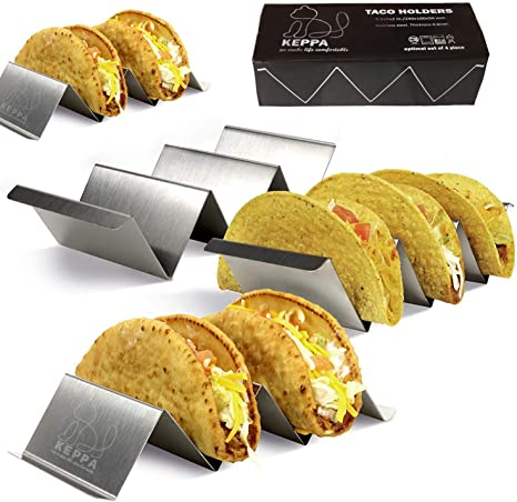 Tortilla Stainless Steel Metal Racks for Taco Shell Burrito 2 Pack Taco Holder Stand with Easy Carry Handles Oven And Grill Safe Holders Fajita And More