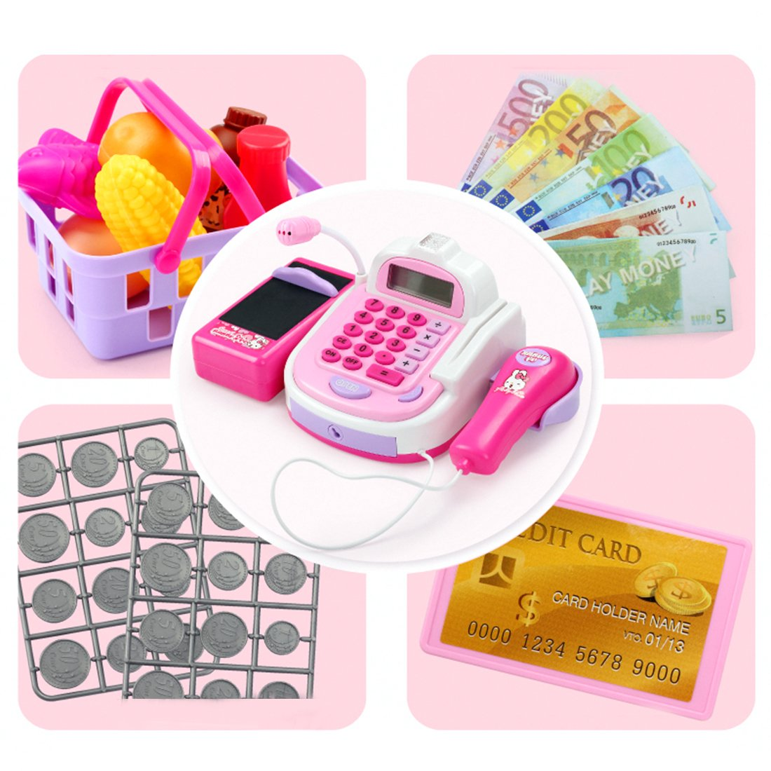 Caisse Enregistreuse Tactile Caisse Enregistreuse Enfants Caisse Electronique Jeu Enfant Caisse Jouet pour Enfant a Partir de 3ans,rose