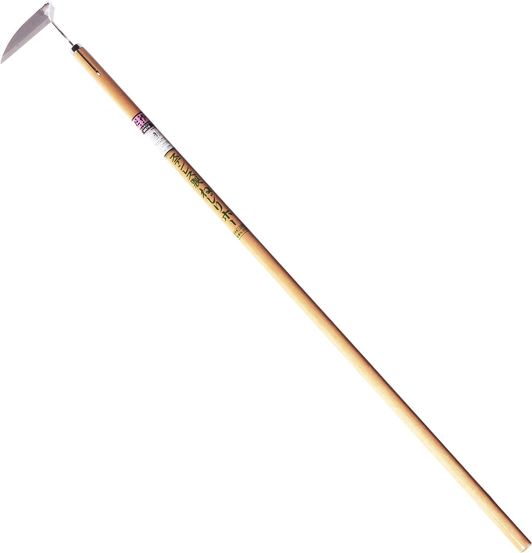 "Nisaku NJP1010 Medium Length Nejiri Gama Sharpened Weeding Hoe, Authentic Tomita (Est. 1960) Japanese Stainless Steel, 4.5"" Blade Width, Polished 45"" Wood Handle"