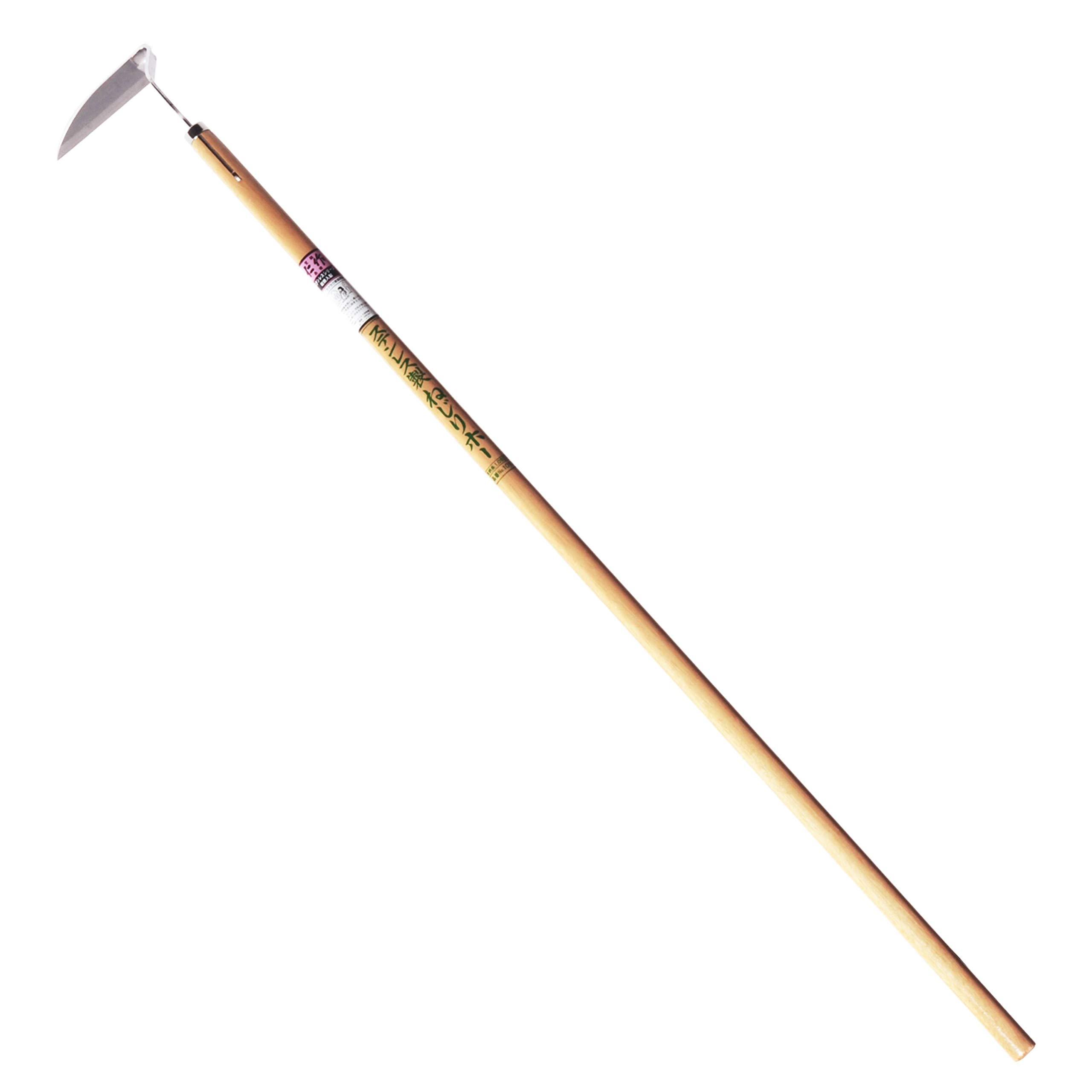 Nisaku NJP1010 Medium Length Nejiri Gama Sharpened Weeding Hoe, Authentic Tomita (Est. 1960) Japanese Stainless Steel, 4.5'' Blade Width, Polished 45'' Wood Handle