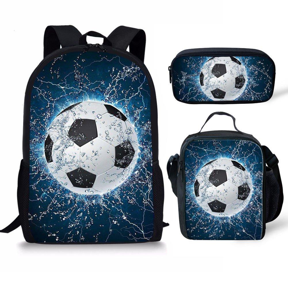 Water Soccer Pattern Kids Backpack Schoolbag Bookbag Lunch Bag Pencil Pouch 3 Piece Set