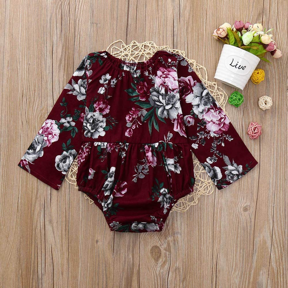 Memela Baby Clothes,Infant Romper Baby Girl Floral Outfit Long Sleeve Ruffle Bodysuit