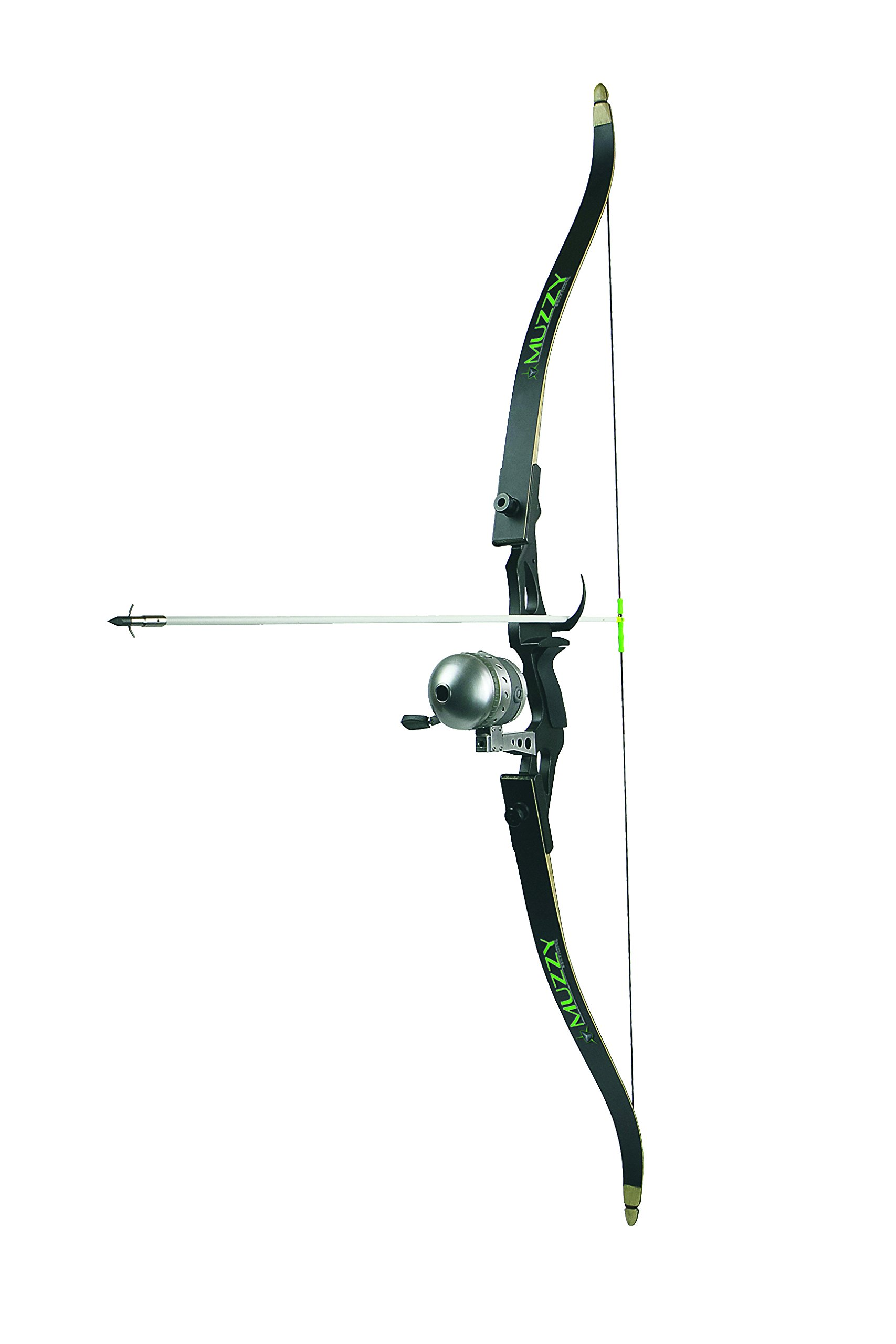 Muzzy 7505 Addict Bowfishing Kit: Recurve Bow, New Reel with 150# line Installed, Rest, 1020-C Arrow,& Finger Guards